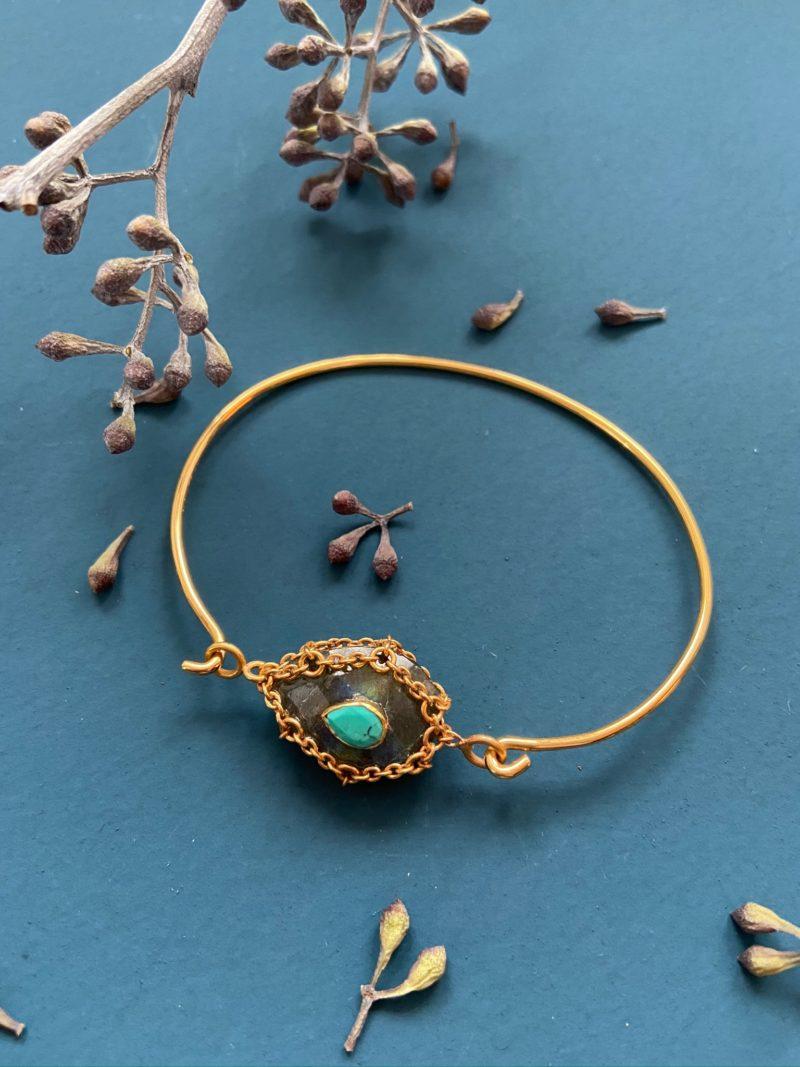 Paloma Stella-sautoir-collier-santa-labradorite-pierre de lune- onyx- amazonite-turquoise-bijoux-chaine-or-plaqué or- pierre de lune-pierres fines-pierres semi-précieuses
