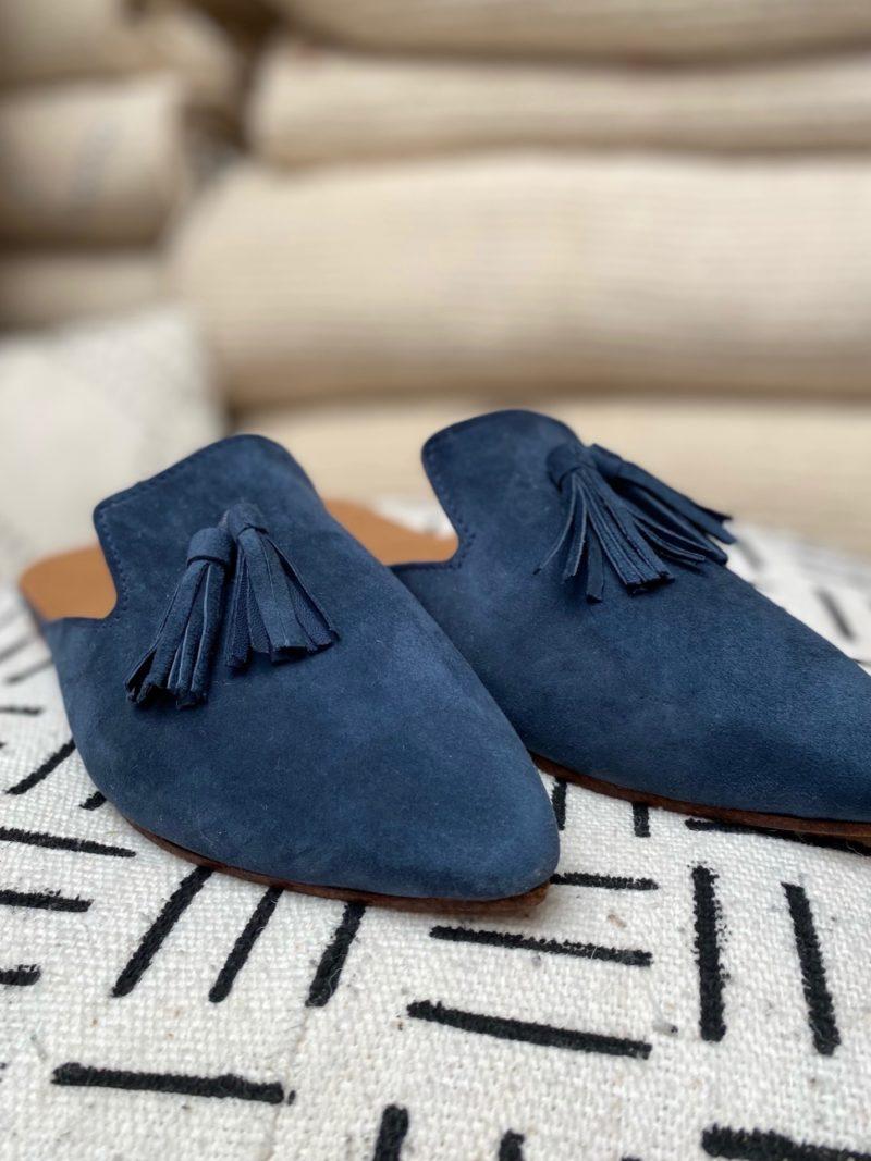 Babouche-pompon-tissus-daim-cuir-chaussures-maroc-artisanat-marrakech-fait à la main-artisanat-intérieur-extérieur-36-37-38-39-40