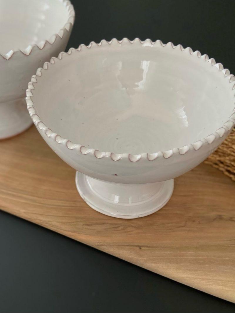 Coupe-fruit-tamgroute-céramique-terre cuite-blanc-noir-maroc-marrakech-artisanat-céramique-blanche-beldi-café-expresso-thé-choufchouf-plat-saladier